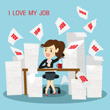 Die glücklichen Geschäftsfrauen sehr arbeiten Lizenzfreie Stockfotos