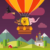 Die glücklichen Karikaturtiere, die auf Heißluft fliegen, steigen im Ballon auf Stockfotografie