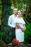 Die glücklichen liebevollen Hochzeitspaare, die im Herbst umarmen, parken lizenzfreies stockfoto