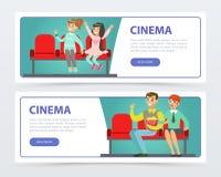 Die glücklichen Menschen in den Gläsern 3d mit Popcorn einen Film, Kinofahnen aufpassend stellten flache Vektorelemente für Websi Stockfotos
