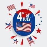 Die glücklichen Unabhängigkeitstagkarte Vereinigten Staaten von Amerika Amerikanisches F stockfotos