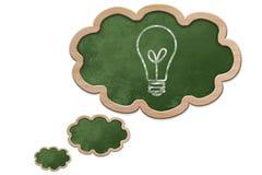 Die Glühlampe, die auf eine Gedankenblase gezeichnet wurde, formte Tafel Stockfoto