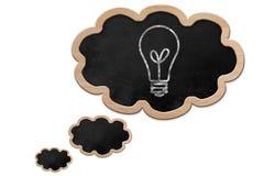 Die Glühlampe, die auf eine Gedankenblase gezeichnet wurde, formte Tafel Stockfotografie