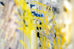 Die Glasfaser schließen an Lochkartengeräte werden verwendet in der Telekommunikation an stockbilder