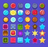 Die glatten bunten eingestellten Formen, dekorative Elemente für GUI-Benutzerschnittstelle entwerfen Vektorillustrationen Lizenzfreies Stockfoto