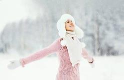 die glückliche lächelnde Frau, die eine Strickjacke und einen Hut trägt, genießt Wintertag Lizenzfreies Stockbild