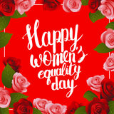 Die Gleichheits-Tagespostkarte der glücklichen Frauen mit Beschriftung Stockbilder