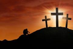 Die Gnade des Gottes am Kreuz Stockbild
