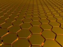 Die Goldbienenwaben, vergoldete Barren, entsprechen geometrischen Zahlen, den Hexagonen, die in Folge gesetzt werden Stockfotos