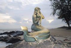Die goldene Meerjungfrau Stockbild