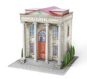 Die goldene Taste oder Erreichen für den Himmel zum Eigenheimbesitze Bankgebäude lokalisiert auf dem Weiß vektor abbildung