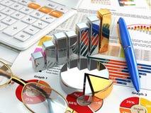 Die goldene Taste oder Erreichen für den Himmel zum Eigenheimbesitze Taschenrechner, Stift, Gläser, Diagramm und Diagramme stock abbildung