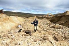 Die Goldmine auf der Insel von Tierra del Fuego Stockbild