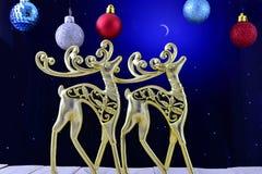 Die Goldzahlen von Rotwild im nächtlichen Himmel und in der Weihnachtsverzierung Lizenzfreies Stockbild