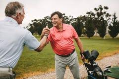 Die Golfspieler, die Hände nach einem erfolgreichen rütteln, üben Sitzung lizenzfreies stockbild