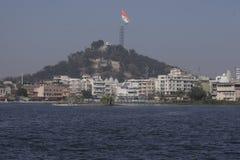 Die größte indische Staatsflagge in der Welt hochgezogen in Ranchi Stockbild