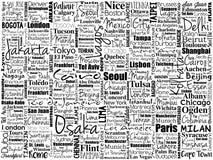 Die größten Städte im Weltwort bewölken Collage Stockbilder