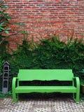 Die grüne Bank und Kriechpflanze-Anlage auf roter Wand Lizenzfreie Stockbilder
