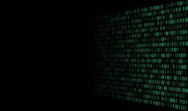 Die grüne binäre nullcode auf schwarzem Hintergrund stockbilder