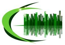 die grüne Stadt auf einem weißen Hintergrund Lizenzfreies Stockbild