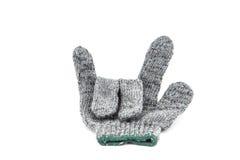 Die grauen Finger des Handschuhgriffs drei ist es Mittelliebe Sie Stockfoto