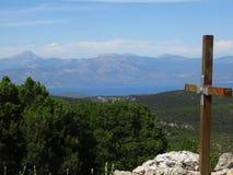 Die griechische Insel von Evia vom Berg Prnitha, Griechenland lizenzfreie stockfotos