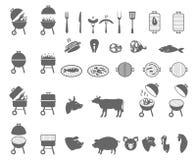 Die Grillikone Grillsymbol Stockfotos