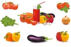 Die große bunte Gruppe des Gemüses und des Glases Lizenzfreies Stockfoto