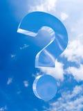 Die große Frage steigt im Himmel an Stockbild