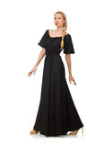 Die große Frau im langen schwarzen Kleid lizenzfreies stockfoto