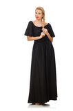 Die große Frau im langen schwarzen Kleid lizenzfreies stockbild