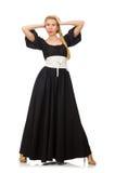 Die große Frau im langen schwarzen Kleid an lizenzfreies stockfoto