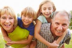 Die Großeltern, die Enkelkinder geben, tragen Fahrt im Garten huckepack Stockbilder