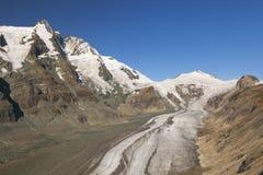 Die Großglockner-Spitze und der Pasterze-Gletscher in Österreich Stockfotografie