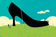 Die großen Schuhe haben zu füllen Stockbild