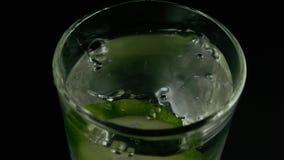 Die Gurkenscheibe fällt in das Wasser Langsame Bewegung stock video footage