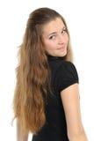 Die gute junge Frau mit dem langen Haar Lizenzfreies Stockfoto