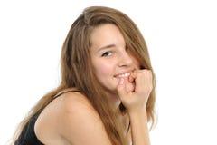 Die gute junge Frau mit dem langen Haar Stockfotos