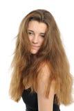Die gute junge Frau mit dem langen Haar Stockbild