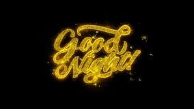 Die gute Nachttypographie, die mit goldenen Partikeln geschrieben wird, funkt Feuerwerke