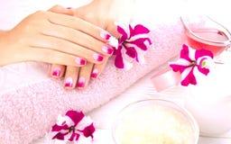 Die Hände der Frau mit schöner Maniküre lizenzfreies stockfoto