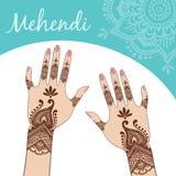 Die Hände der Frauen, Maniküre Mehendi Stockfotografie
