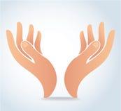 Die Hände, die Designvektor halten, Hände beten Logo Stockfotos