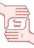 Die Hände, die Fokusrahmenschießen nehmen, mögen Kamera Stockfotos