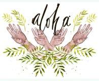 Die Hände, die mit dem Aquarell malen, verlässt Palme Lizenzfreies Stockfoto
