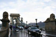 Die Hängebrücke an einem regnerischen Sommertag Lizenzfreies Stockfoto