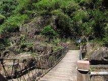 Die hölzerne Brücke im Wald Lizenzfreies Stockfoto