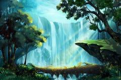 Die hölzerne Brücke innerhalb des tiefen Waldes nahe einem Wasserfall stock abbildung