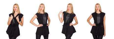 Die hübsche Frau in den festen schwarzen Hosen lokalisiert auf Weiß stockbilder
