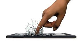 Die Hand bricht Telefon Stockfoto